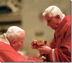Cardinal Ratzinger gives PopeJohn Paul Holy Communion