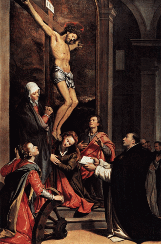 St. Thomas Aquinas before the Crucifix